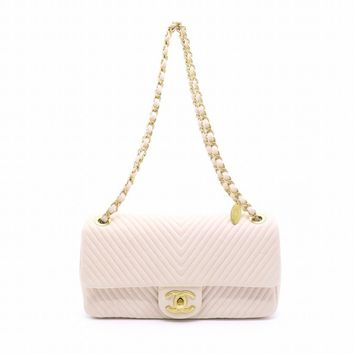 Chanel Calfskin Leather GHW Chain Shoulder Flap Bag Nude 4002