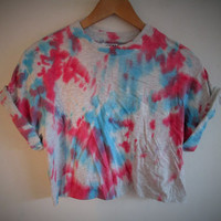 Vintage acid wash tie dye retro rave festival unique urban grunge Ibiza unisex skater crop top T-shirt