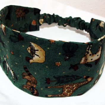 Reversible Fabric Headband Christmas Animals and Holly on Dark Green Background