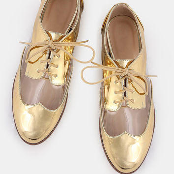 Metallic Lined Transparent Oxfords GOLD | MakeMeChic.COM