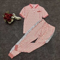 """DIOR""Woman's Leisure  Fashion Letter Personality Printing Lapel Loose Short Sleeve Trousers  Two-Piece Set Casual Wear"