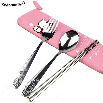 Keythemelife 3pcs/set Cartoon Dinnerware set for Kids Hello kitty Stainless Steel Travel Tableware 2C