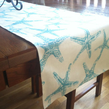 Beach Table Runner - One, Nautical Table Decor, Tropical Wedding Table Decor, Ocean Tablecloth, Starfish Seahorse Sea Coral, Ocean Decor
