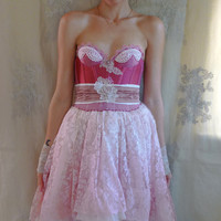 Peony Fairy Bustier Dress... Size XS/S... Party Wedding Formal Prom Bridesmaid Pixie Fantasy Tutu Pink Eco Friendly Recycled