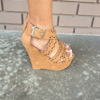 Nude Diamond Cut-Out Wedges