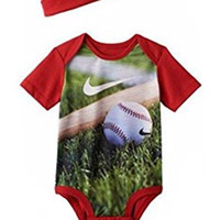 Nike Baby Boys Baseball Sublimination Bodysuit & Hat Set, 0-12 Months Gym Red (9/12 Months)