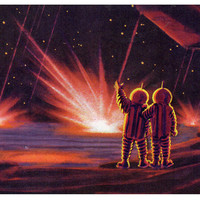 Meeting With the Meteorite (Artist A. Sokolov) Vintage Postcard - Printed in the USSR, «Soviet Artist», Moscow, 1966
