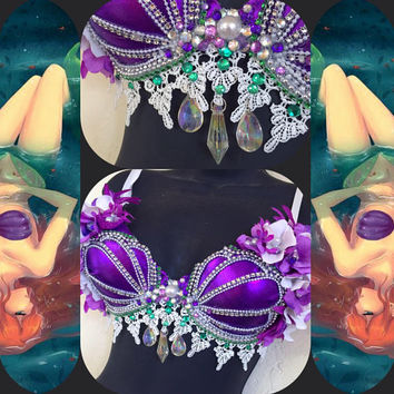 Princess Ariel Sea Crystals Bra: rave, rave bra, halloween, costume, edm, festival wear, disney, edc, siren, seashells, mermaid, cosplay