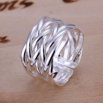 Free Shipping 2015 New silver plated engagement ring Braided anel feminino bone