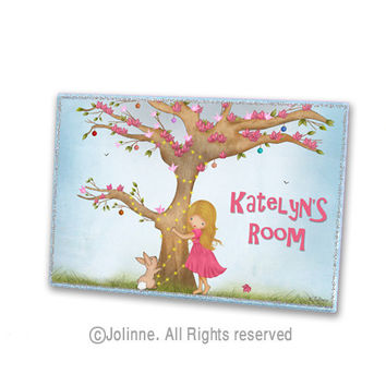 Girl and bunny personalized door sign, kids room art, childrens wooden door plaque