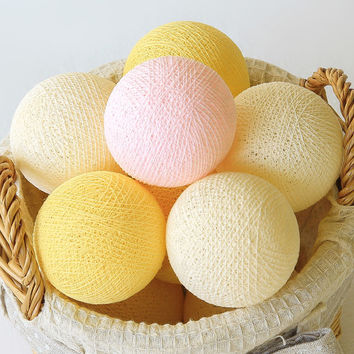 20 Pastel Pink Cream Yellow Handmade Cotton Ball Patio Party String Lights – Fairy, Wedding, Holiday, Home Décor