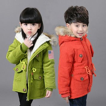 2018 New Winter Children Thick Jackets For Girls Boys Coats Hooded Faux Fur Collar Kids Outerwear Cotton Padded Parkas Jackets
