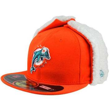 New Era Miami Dolphins Youth On Field Dog Ear 59FIFTY Structured Fitted Hat - Orange - http://www.shareasale.com/m-pr.cfm?merchantID=7124&userID=1042934&productID=547698206 / Miami Dolphins
