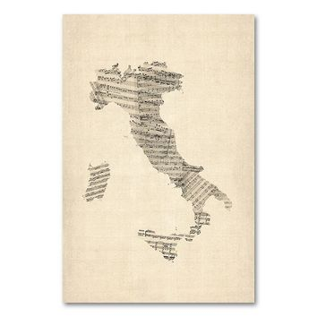 ''Italy - Old Sheet Music Map'' 16'' x 24'' Canvas Wall Art by Michael Tompsett (Beige/Khaki)