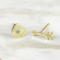 Heart and Arrow Mismatched stud earrings with Turquoise
