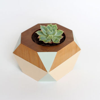 Geometric Wooden Pot