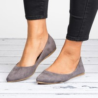 Pointed Ballet Flats - Grey