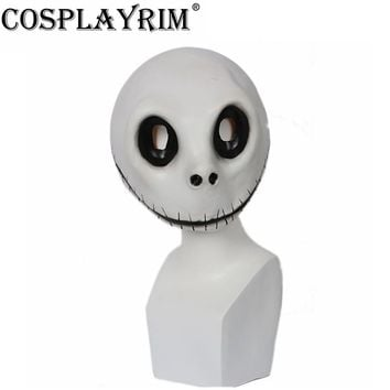Cosplayrim The Nightmare Before Christmas Jack Skellington Full Face Mask Cosplay Costume Props White Latex Mischievous Helmet