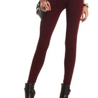 Fleece-Lined Plaid Leggings by Charlotte Russe - Black/Red