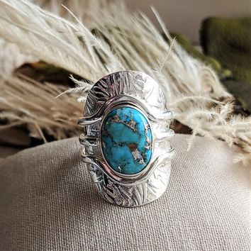 Unique Sterling Silver & Morenci Turquoise Ring Size 8