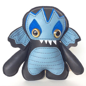 Sea Monster Plush - Sea Creature - Creature from the black lagoon - Monster Art Doll- Blue- Leather - Plush Monster