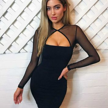 2018 Trending Black Herve Leger bandage dress long sleeved Lace Applique bodycon Fashion women prom dress