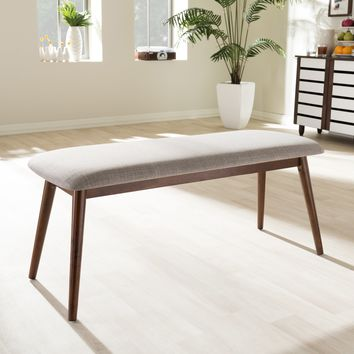 "Baxton Studio Flora Mid-Century Modern Light Grey Fabric and ""Oak"" Medium Brown Finishing Wood Dining Bench Set of 1"