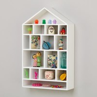 Four Story Wooden Wall Shelf (White)