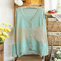 New Ladies Women Lovely Loose CONTRAST COLOR Cardigan Top Casual Sweater outwear