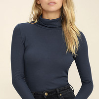 Cozy Den Navy Blue Turtleneck Top