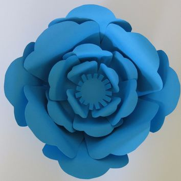 "Big Blue paper flower, 10"" rose, Mix and match for Giant wedding wall backdrop, photography background, advertising"