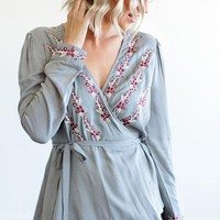 """Morgan"" Embroidered Wrap Blouse - Silver"