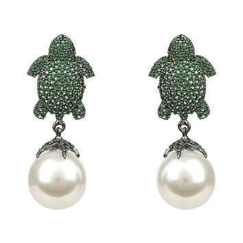 Green Turtle Baroque Pearl Drop Earring Oxidised