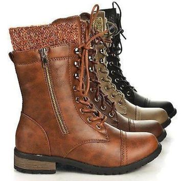 Mango31 By Forever, Round Toe Military Lace Up Knitted Ankle Cuff Low Heel Combat Boot