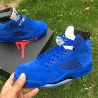 NEW DS 2017 Nike Air Jordan Retro 5 V BLUE SUEDE Game Royal Black 136027-401