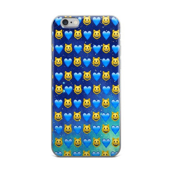 Cat & Blue Hearts Emoji Collage Across The Night Blue Sky & Stars Cute Teen Girly Girls Dark Blue iPhone 4 4s 5 5s 5C 6 6s 6 Plus 6s Plus 7 & 7 Plus Case