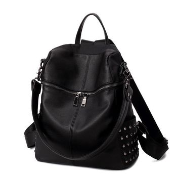 Multifunctional Punk Studded Large Leather Backpack Daypack Travel Bag