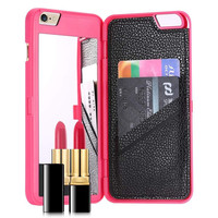 IPHONE MIRROR & WALLET CASE PINK