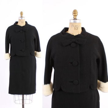 Vintage 60s LILLI ANN SUIT / 1960s Black Wool Blazer jacket with White Mink Fur Cuffs & Pencil Skirt M
