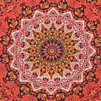 Large Red Psychedelic Style Star Elephant Wall Tapestry, Indian Hippie Bedding on RoyalFurnish.com