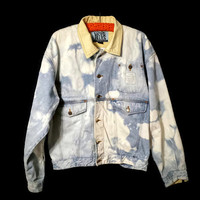 Stone Washed Denim Jacket Distressed Blue Jean Jacket Throw Back Eighties 80's Canyon River Blues CRB