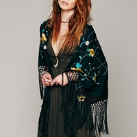 Free People Floral Embroidered Triangle Shawl