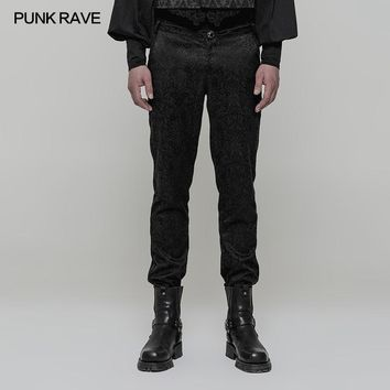 Punk Rave Retro Gothic Cowboy High Waist Palace Club Rock flowers Jacquard Trousers Pants WK313