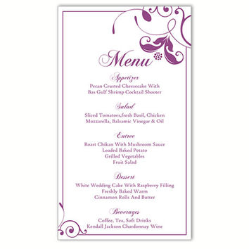 Wedding Menu Template DIY Menu Card Template Editable Text Word File Instant Download Eggplant Menu Floral Menu Template Printable 4x7inch