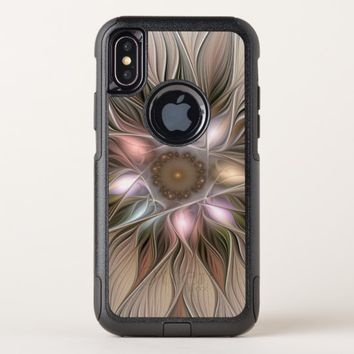 Joyful Flower Abstract Beige Brown Floral Fractal OtterBox Commuter iPhone X Case
