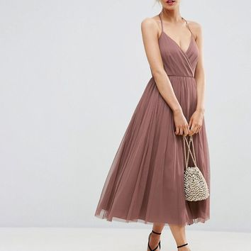 ASOS PETITE Pinny Extreme Tulle Mesh Midi Dress at asos.com