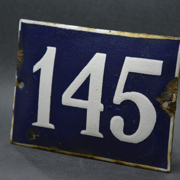 Vintage French Blue and White Enamel House Number, Number 145, Door Number, Blue Enamel Metal Plate