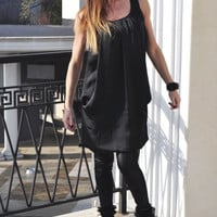 Plus Size Black Dress , Oversized Maternity Gown , Short Sleeves Casual Dresses , Hidden Pockets Loose Dress