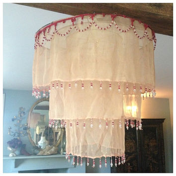 Beautiful ethereal french vintage textile 1920s deco pretty chiffon beaded light shade decoration ~ so so pretty!