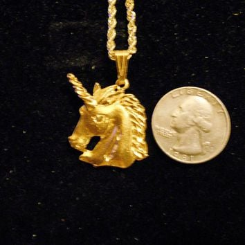 bling 14kt yellow gold plated fantasy mythical magic stonehenge fantasy legend folklore unicorn head pendant charm 24 inch rope chain hip hop trendy fashion necklace jewelry